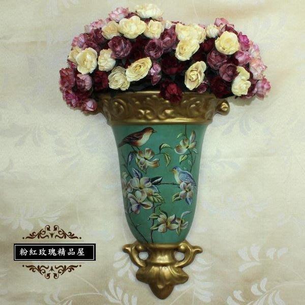 粉紅玫瑰精品屋~弗洛倫斯 浮雕歐式做舊古典時尚 手繪陶瓷花瓶壁掛~現貨
