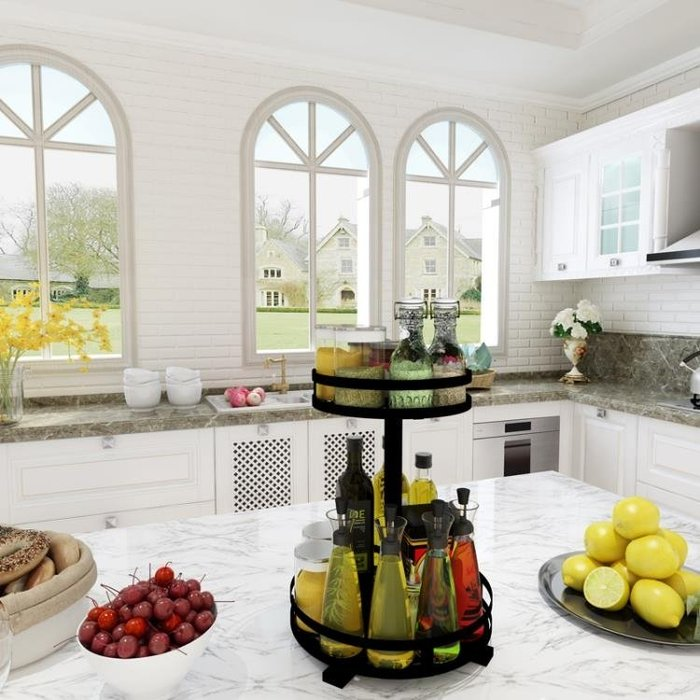 廚房置物架調味料收納架省空間2層旋轉式黑色不銹鋼調料置物架子 【粉紅記憶】