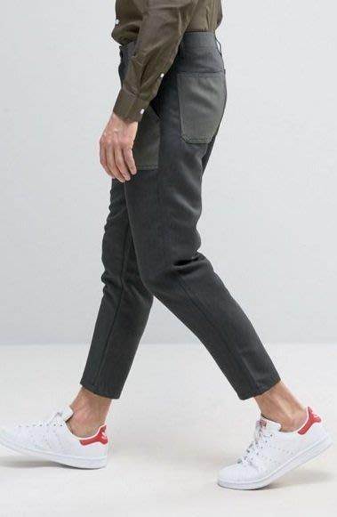 ◎美國代買◎ASOS不同色塊口袋貼布設計微寛鬆褲管西裝褲型英倫雅痞風七分長褲~歐美街風~大尺碼