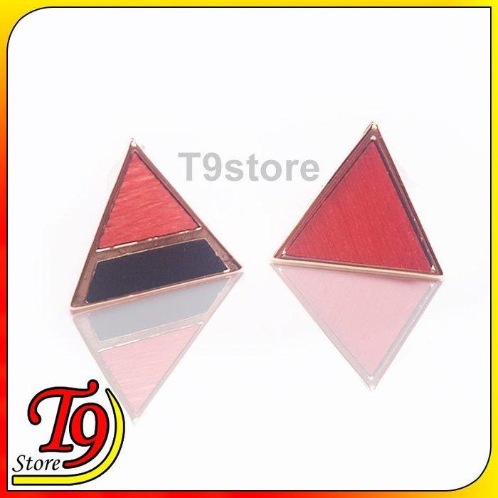 【T9store】韓國製 三角拼接貼耳式耳環