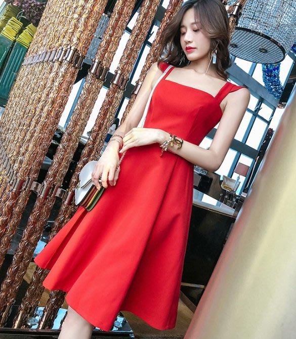 無袖吊帶洋裝大紅色方領荷葉邊飛飛袖中高腰百褶中長裙無袖洋裝許願魔鏡@wishing Mirror-*-TL13199