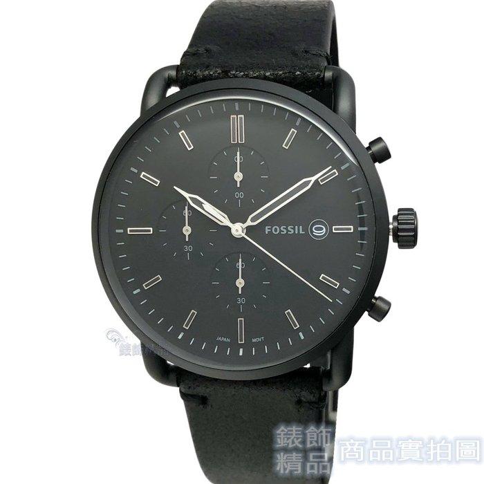 FOSSIL 手錶 FS5504 簡約文青時尚款 三眼計時 日期 42mm 消光黑 男錶【錶飾精品】