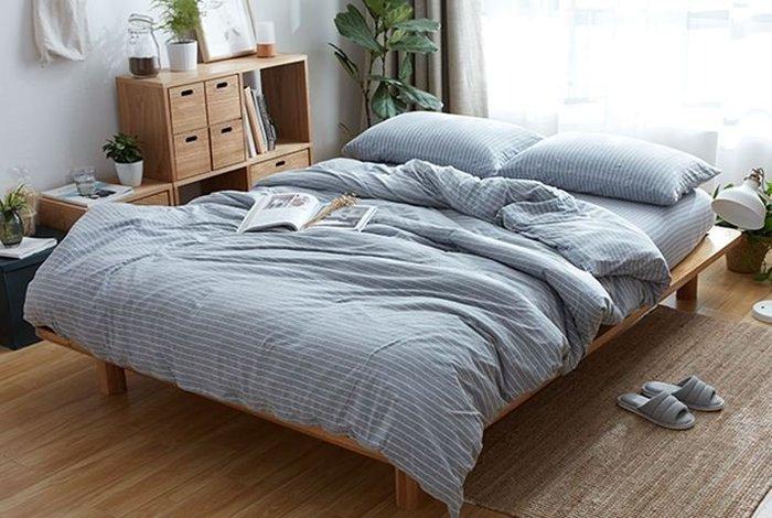 純棉親膚裸睡專用床包組(灰白條紋) 床包 床單 枕頭套 枕頭 床 棉被 被套 寢具 裸睡 純棉 床包組 拖鞋 室內拖鞋
