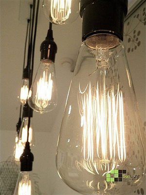 【SUN LIGHT 日光燈坊】愛迪生復古工業鎢絲燈泡Edison bulb單吊燈三組共用12公分吸頂蓋,一個換聖誕燈泡
