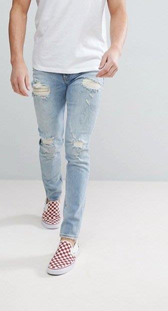 ◎美國代買◎ASOS褲管刷破帶白淺藍刷色復古英倫頹廢風淺藍刷色刷破顯廋牛仔褲~歐美街風~大尺碼~