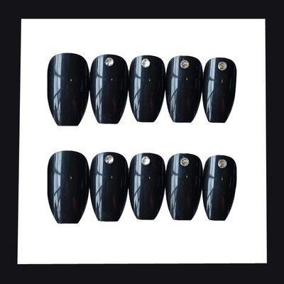 指甲貼 假指甲 腳趾貼 指甲彩繪 美甲工具芭蕾黑鉆暗黑歐美網紅同款ins風純色假指甲成品穿戴拆卸美甲貼片8-6