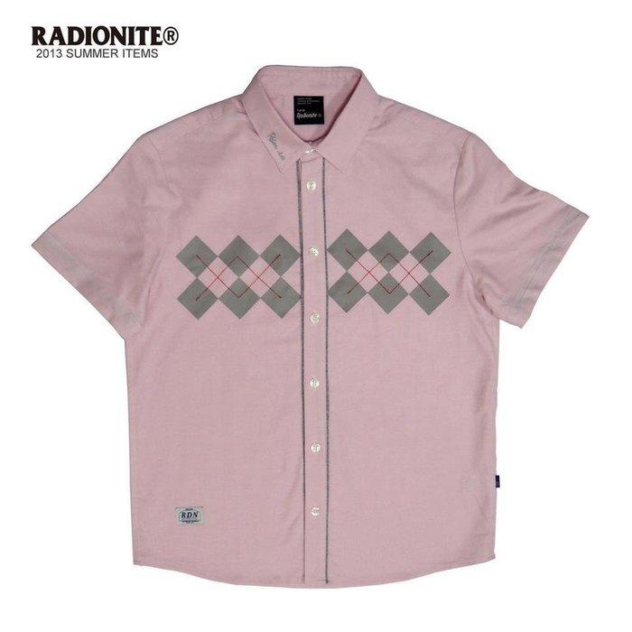 美國東村【RADIONITE】Diamond Plaid Shirt 英倫 菱格紋襯衫 可反折 粉紅