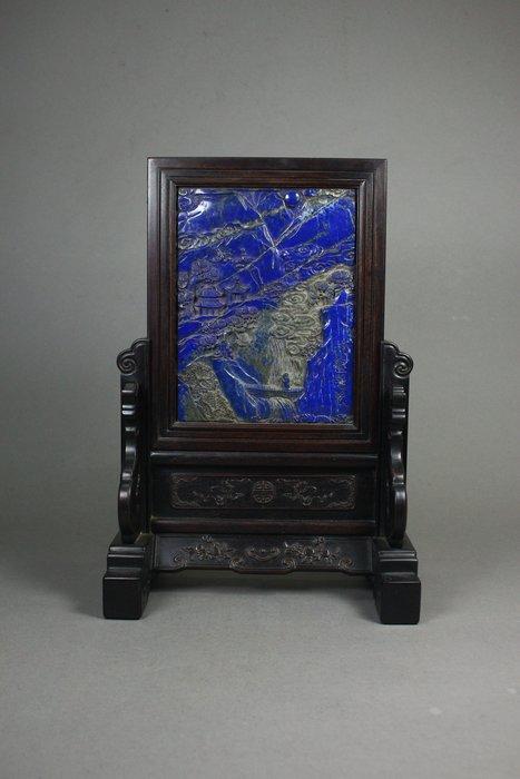 悅年堂 --- 紫檀框 嵌青金石 松壑隱逸圖 插屏 桌屏 z