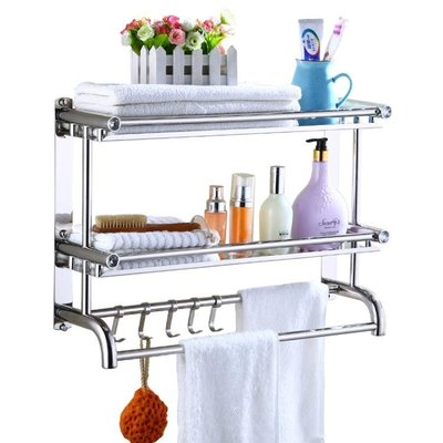 浴室毛巾架不銹鋼雙層三層洗手間衛生間衛浴五金置物架壁掛件打孔WY