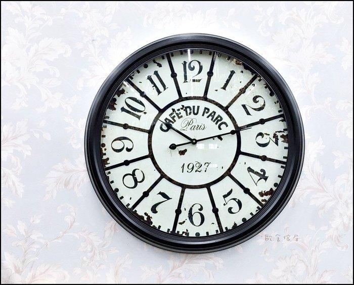 美式鄉村復古風 圓形黑白仿古鐵框時鐘 直徑60公分大鐘面壁鐘掛鐘藝術造型鐘復古鐘木板鐘仿古鐘【歐舍傢居】