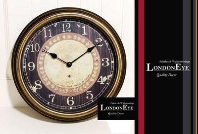 【 LondonEYE 】美式鄉村風‧仿古作舊鐵藝掛鐘‧完美配色斑駁古銅金‧設計師嚴選