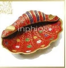 印巴文化印巴風情異國風情進口手工藝品印度手工銅雕海螺銅煙灰缸【二組】