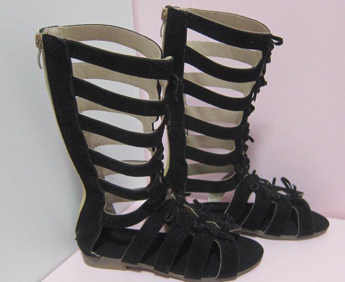 二手轉售 - 兒童時尚長筒魚骨涼鞋羅馬靴涼鞋女童鞋/黑色款