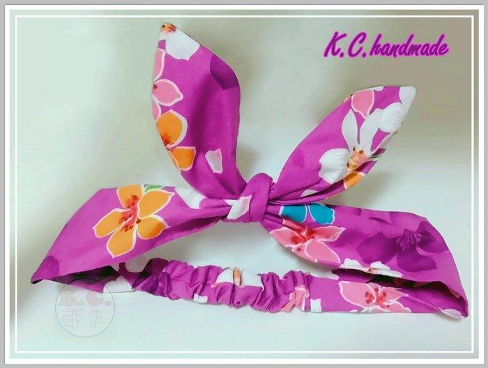 ❤K.C.手作☆ 髮帶♥ 油桐花髮帶 ❄ 客家花布 ⭐ 兔耳朵 ✪ 花朵✯蝴蝶結 ♥紫色款 ❤