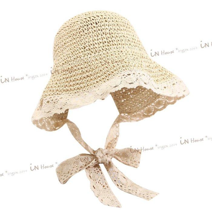 IN House*🇹🇼現貨 🇰🇷日韓 💕兒童 復古 防曬 蕾絲 草帽 漁夫帽 小童 編織 外出 遮陽帽 帽子