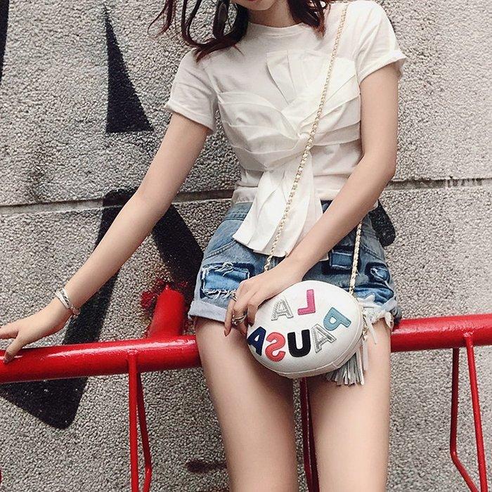 《巴黎拜金女》純白色短袖T卹純棉修身裹胸設計感上衣