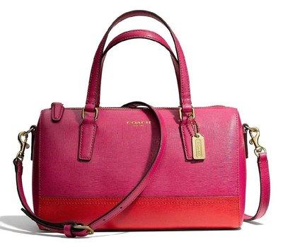 Coco小舖COACH 49786 Saffiano colorblock leather mini satchel