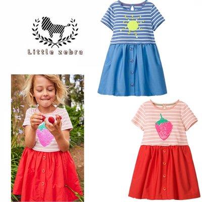 ❤現貨❤ 歐美童裝 純棉洋裝 連衣裙 公主裙 女童洋裝 中小童 春夏新款 藍色太陽/粉紅草莓 條紋短袖洋裝 女童裝