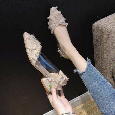 ZIHOPE 網紅單鞋女新款韓版百搭低跟透明尖頭粗跟仙女的高跟鞋子ZI812