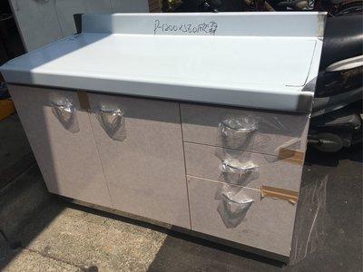 120cm工作平台,切菜台、電器櫃,訂做抽屜款(內附可調式不鏽鋼層板)