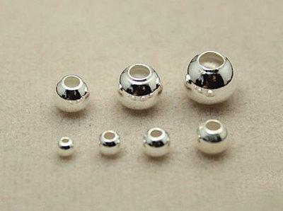 嗨,寶貝銀飾珠寶* 925純銀飾 DIY串珠配件☆8mm銀珠光珠 DIY銀配件定位珠☆串珠 配件
