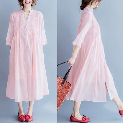 *姑涼家* 兩件套帶襯裙 淺粉色純棉V...
