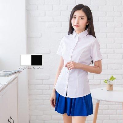 制服白襯衫/銀扣折袖素短衫《SEZOO襯衫殿 高雄店家》037000215