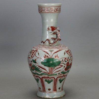 ㊣姥姥的寶藏㊣元代紅綠彩鴛鴦戲水紋紋單耳瓶 古玩古董
