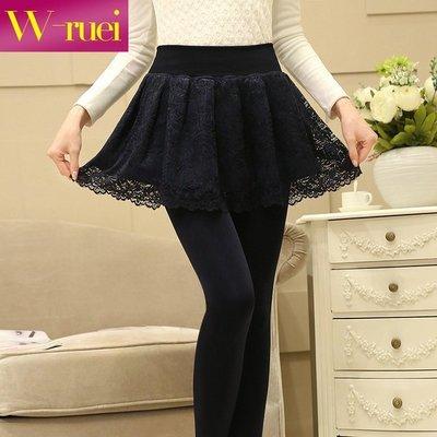 2016新款韩版修身加绒加厚保暖假两件蕾丝裙裤