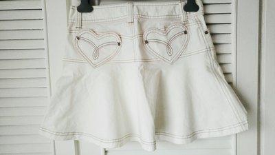 白色Barbie 愛心口袋丹寧牛仔裙