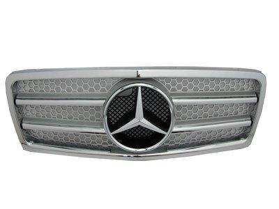 0319卡嗶車燈 Benz 賓士 E-CLASS W210/T210 1995-1999 2線款 水箱罩/水箱護罩 銀