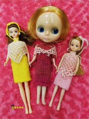 深紅色~超顯瘦連身針織洋裝+粉嫩圍巾 適合穿於Blythe小布 普利普pullip 珍妮jenny莉卡等doll