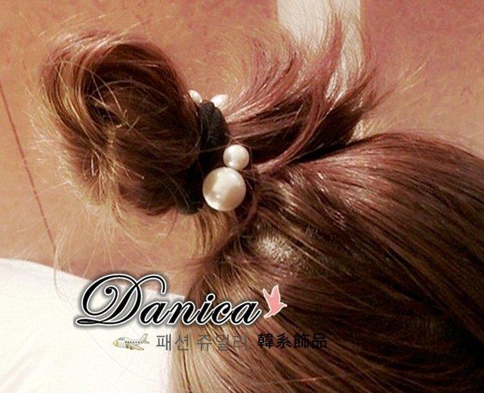 髮飾 現貨 韓國熱賣甜美手作簡約百搭無接縫星空點點珍珠髮束K7617-47 單個價 批發價 Danica 韓系飾品