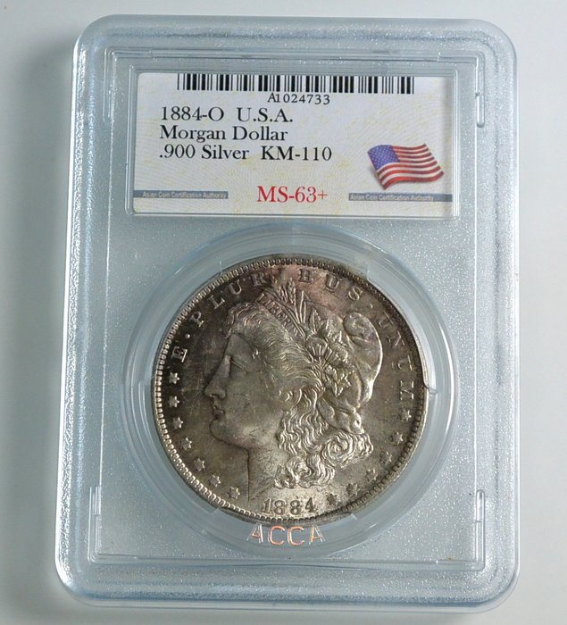 評級幣 1884年O記 美國摩根 1 DOLLAR 銀幣 鑑定幣 ACCA MS63+