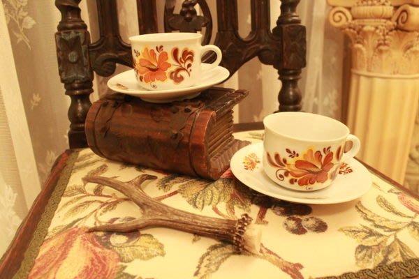 【家與收藏】賠售特價歐洲古董德國Art Deco復古優雅花卉瓷咖啡杯盤