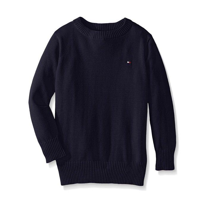 美國百分百【全新真品】Tommy Hilfiger 素面 圓領 針織衫 TH 棉質 線衫 毛衣 深藍 S號 H303