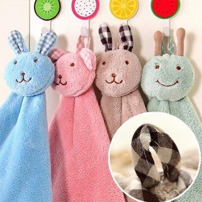 ☜shop go☞【F008】創意可愛兔加厚可掛式珊瑚绒超強吸水擦手巾 廚房浴室掛式擦手巾 珊瑚絨擦手巾 毛巾