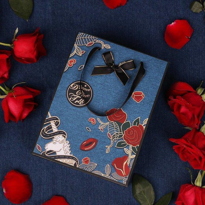 奇奇店-送禮禮品袋玫瑰獨角獸禮袋包裝袋復古手提袋創意禮物袋紙袋#浪漫清新 #爆款精美禮盒 #送禮推薦