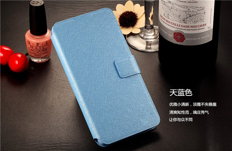 【GooMea】3免運ASUS ZenFone Live ZA550KL蠶絲紋皮套站立 天藍手機套保護套保護殼
