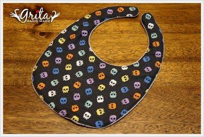 ♥gritas handmade♥純棉手作嬰幼兒圍兜兜/口水巾/三角巾/彌月禮—刺繡風格彩色骷髏頭