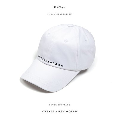 "【ScrewCap】""HATERSNAPBACK"" Embroidery Low Profile Cap White 白"