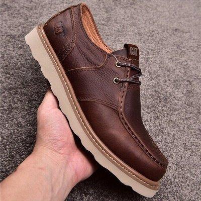 CAT/卡特男士低幫系帶真皮休閒皮鞋英倫風戶外休閒鞋 咖色 39-44碼