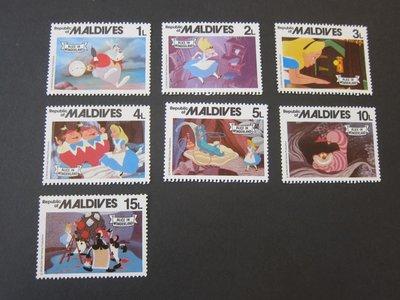 【雲品二】馬爾代夫Maldives 1980 Sc 887-93 Disney MNH 庫號#B501 87727