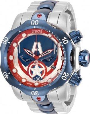 《大男人》MARVEL漫威限量款Invicta #456 美國隊長瑞士52MM個性潛水錶,非常稀有(本賣場全現貨)