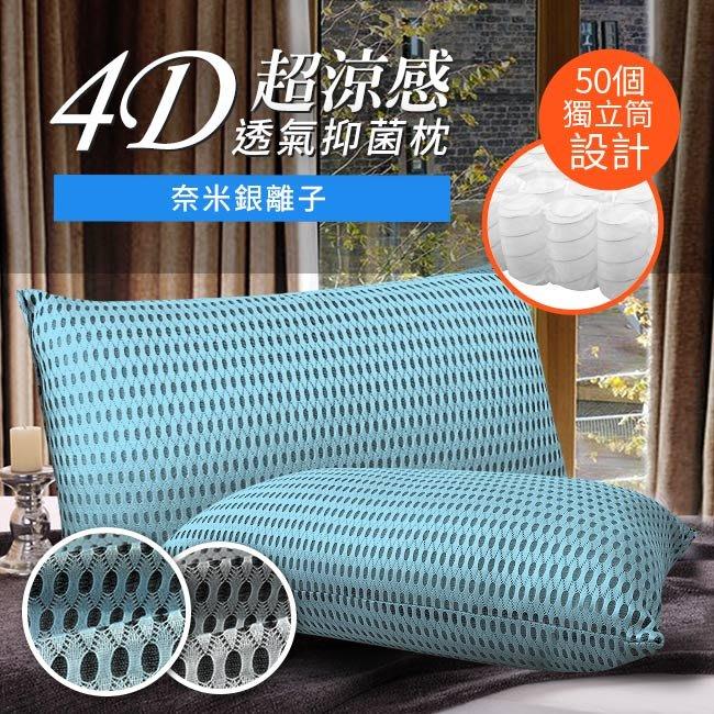 【精靈工廠】台灣精製。4D透氣銀離子抑菌獨立筒枕頭/藍(B0061-N)