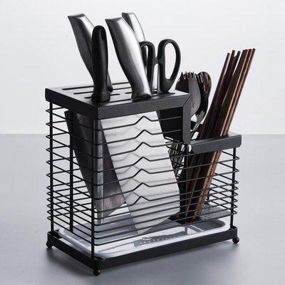 日和生活館 家用304不銹鋼刀架廚房菜刀架置物架插刀座盒放刀具收納架瀝水盤S686