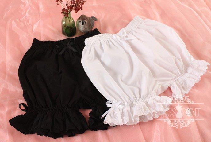 清爽全棉 黑白色南瓜褲 洋裝防走光專用 裙撐蕾絲蝴蝶結燈籠褲/內搭褲/蛋糕褲 lolita/Gothic