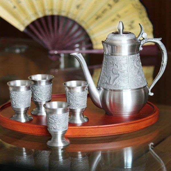 5Cgo【茗道】含稅會員有優惠 14676599961 馬來西亞錫杯錫壺紅酒杯酒壺酒具套裝商務結婚禮品創意實用禮物龍紋