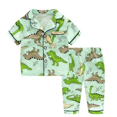 •*~ 辣媽咪衣飾小舖 ~*•❤童裝系列❤K950195韓版兒童夏款超可愛萌款『恐龍』圖案家居服上衣+長褲二件套