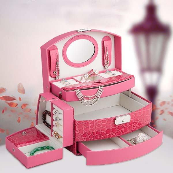 5Cgo【鴿樓】會員有優惠 521048365444 高檔首飾盒 子母式首飾盒 公主歐式韓國 手飾品收納箱帶鎖化妝盒木